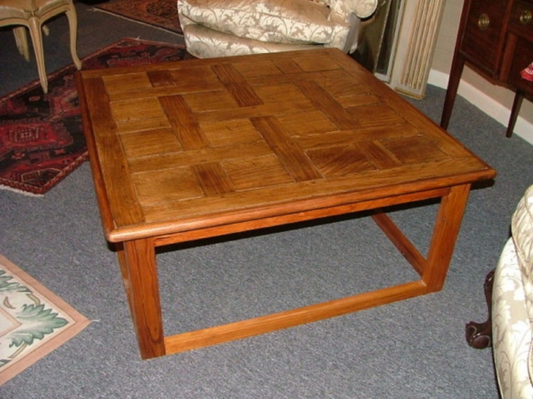 Large Square Coffee Table Handcrafted Utilizing French Parquet 3