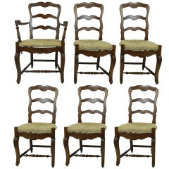 Set of Six French Provincial Style Walnut Dining Chairs, 20th Century
