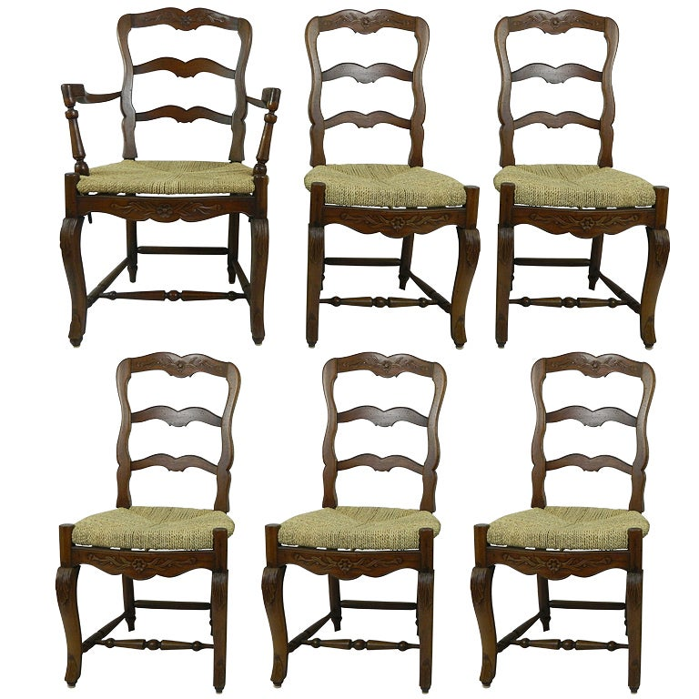 Set Of Six French Provincial Style Walnut Dining Chairs