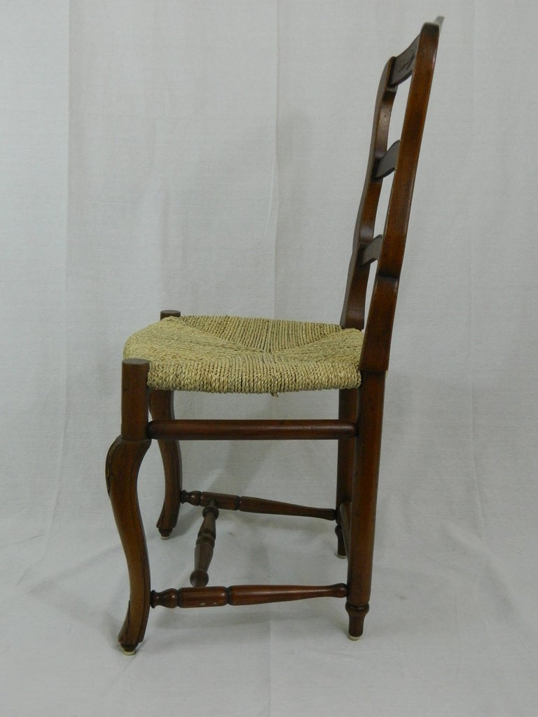 Set Of Six French Provincial Style Walnut Dining Chairs 20th Century At 1stdibs