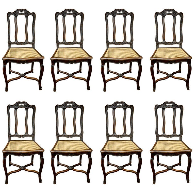 19th Century Set of Eight Oak Regency Style Dining Side Chairs with Cane Seats