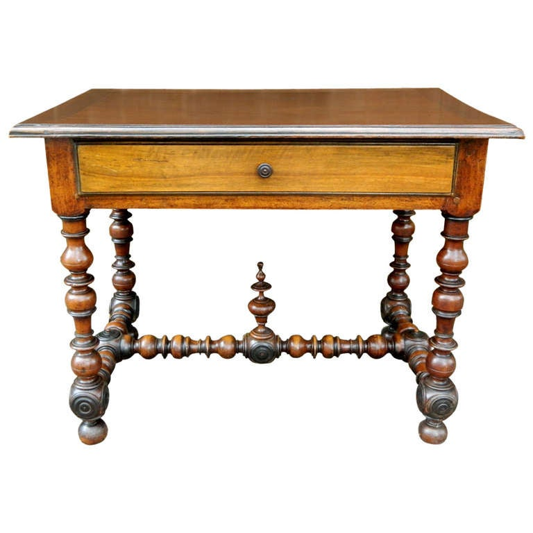 19th Century Walnut Side or Writing Table with Turned Legs
