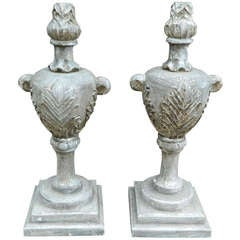 20th Century Pair of Silver Gilt Wood Appliques or Architectural Flame Fragments
