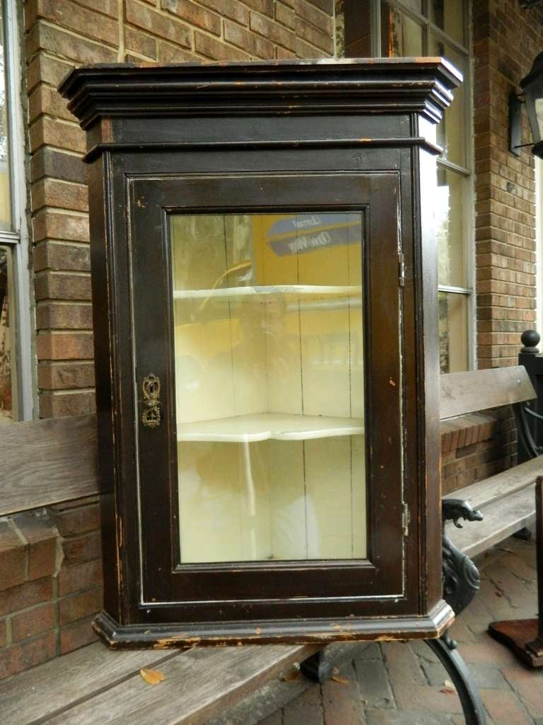 19th Century Rustic English Corner Hanging Cabinet With Glass Door At 1stdibs