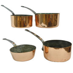 Set of Four Graduated Sized Polished Copper Sauce Pans, circa 1830