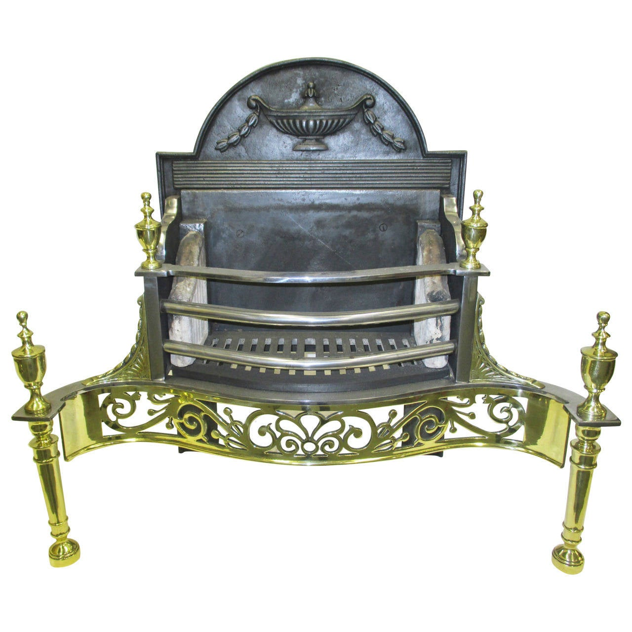 Antique Brass Cast Iron And Steel Fire Grate 19th Century At 1stdibs