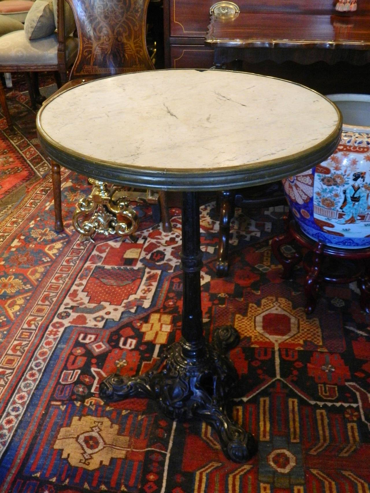Cast Iron Base and Marble Top Round Bistro or Cafe Table 19th