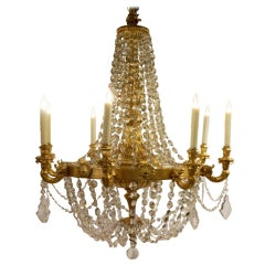 Large Giltwood Eight-Light Chandelier with Crystal Swags, 19th Century