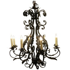 20th Century French Iron Eight Light Chandelier