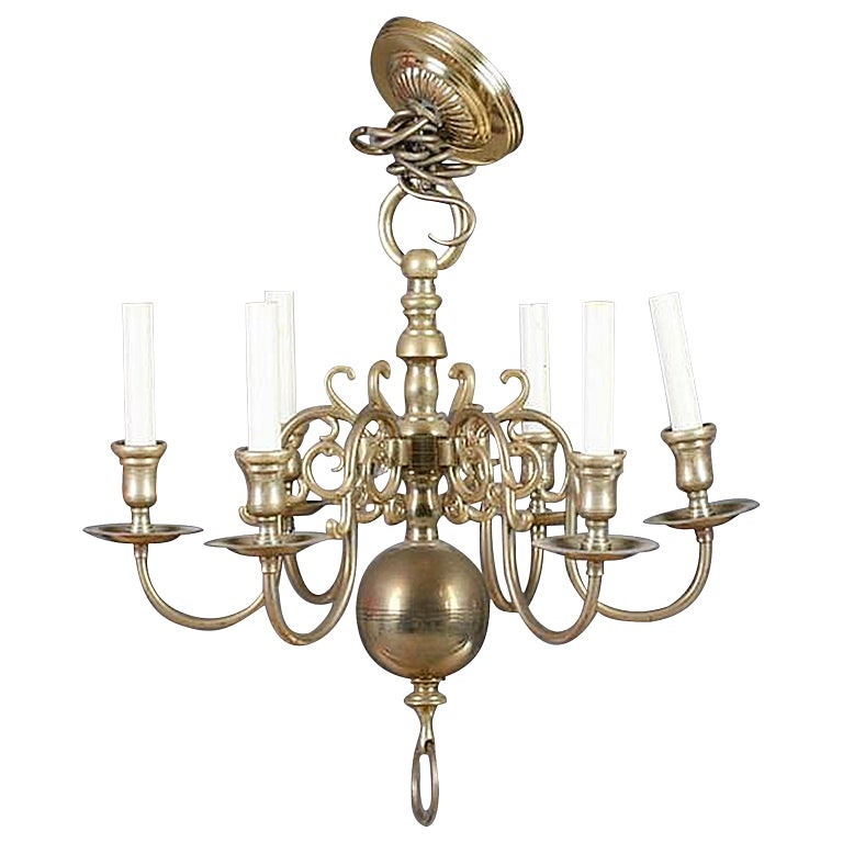 Dutch Style Brass Six Light Chandelier Late 19th Early