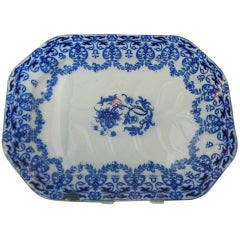 Extra Large English Blue and White Indian Fest Platter, 19th Century