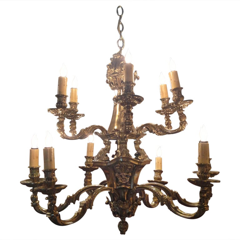 19th Century Large Bronze Two-Tier Twelve Light Chandelier