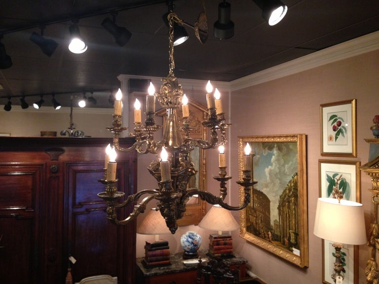 English 19th Century Large Bronze Two-Tier Twelve Light Chandelier For Sale
