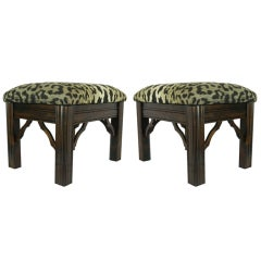 Pair of Upholstered Chinese Chippendale Stools, Mid 20th Century
