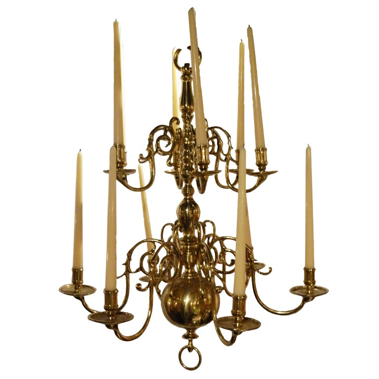 Brass french twelve candle williamsburg style chandelier for Williamsburg style lighting