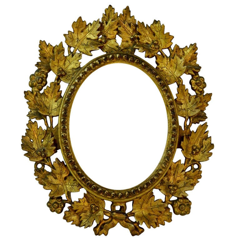 mirror gold frame. 19th century italian gold gilt leaf carved mirror or frame adorned with leaves and grapes 1