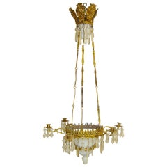 19th Century French Six-Light Chandelier with Opaline Glass and Brass