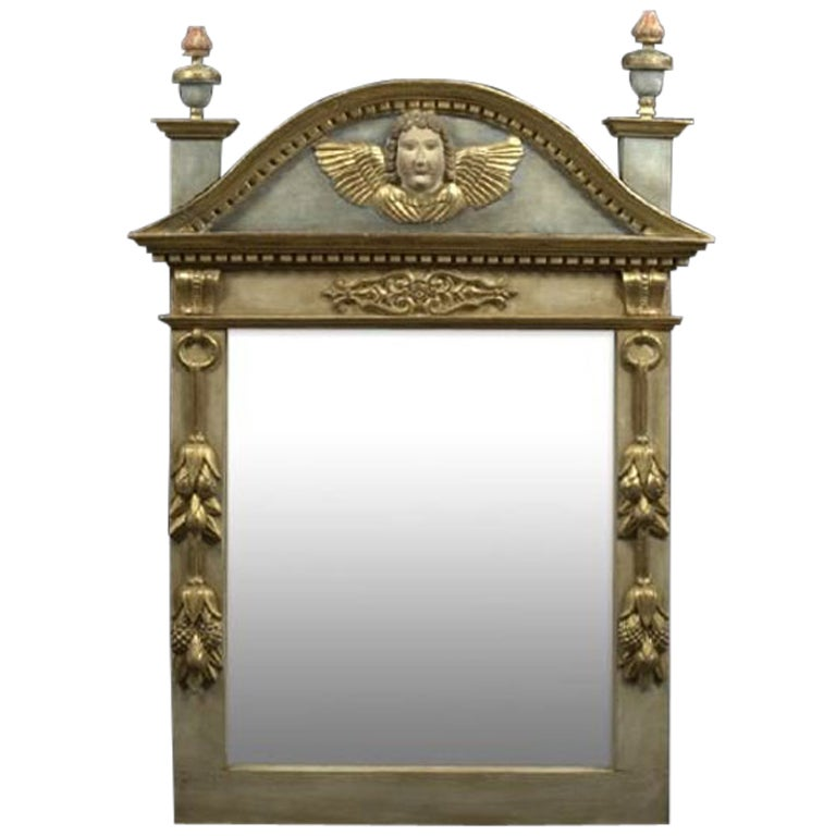 French Polychromed and Parcel-Gilt Mirror, 19th Century