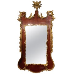 George II Style Mahogany and Gilt Wood Mirror