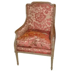 20th Century Louis XV Style Painted Bergere or Chair on Tapered Fluted Legs