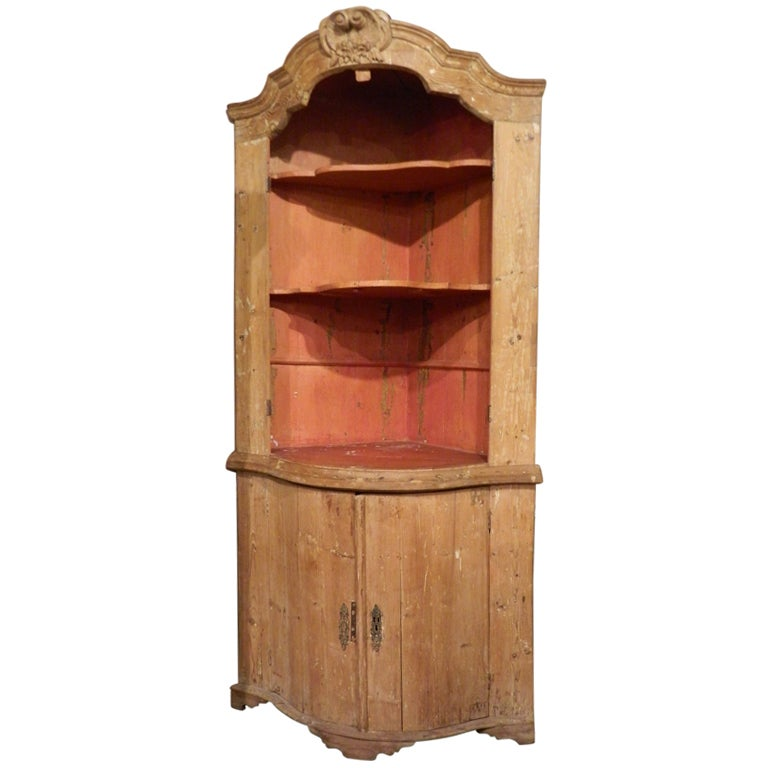 Dutch baroque pine corner cupboard or cabinet at 1stdibs for Cupboard or cabinet