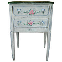 Hand-Painted Two-Drawer Side Table by Bob Christian, 20th Century