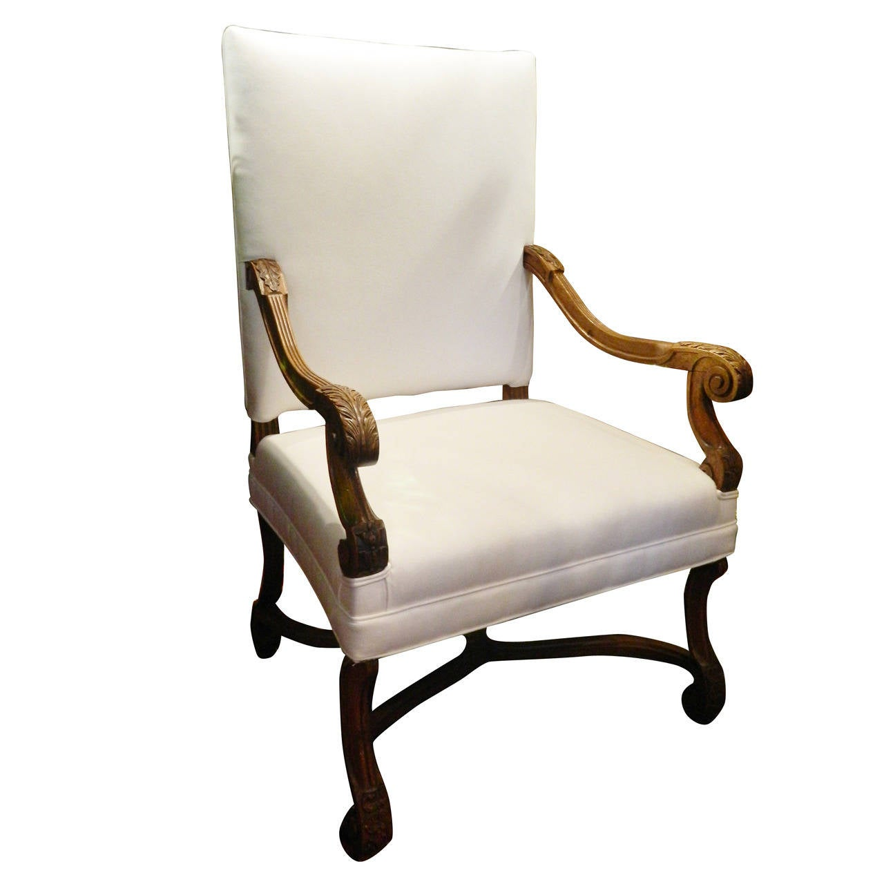 French Provincial Carved Walnut Armchair, 19th Century
