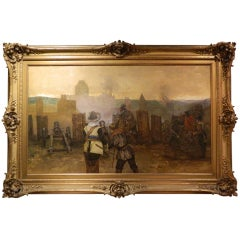 "German Framed Oil on Canvas ""Behind the Battle Lines"", 19th Century"