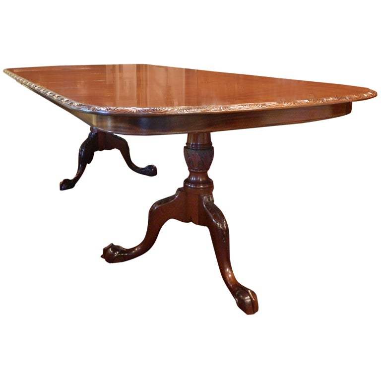 English Double Pedestal Mahogany Dining Table At 1stdibs