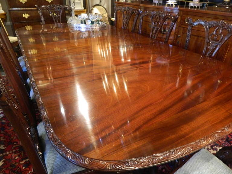 English Double Pedestal Mahogany Dining Table 6