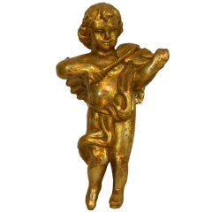 Baroque Style Carved Giltwood Cherub or Putti Adapted as a Lamp, 20th Century