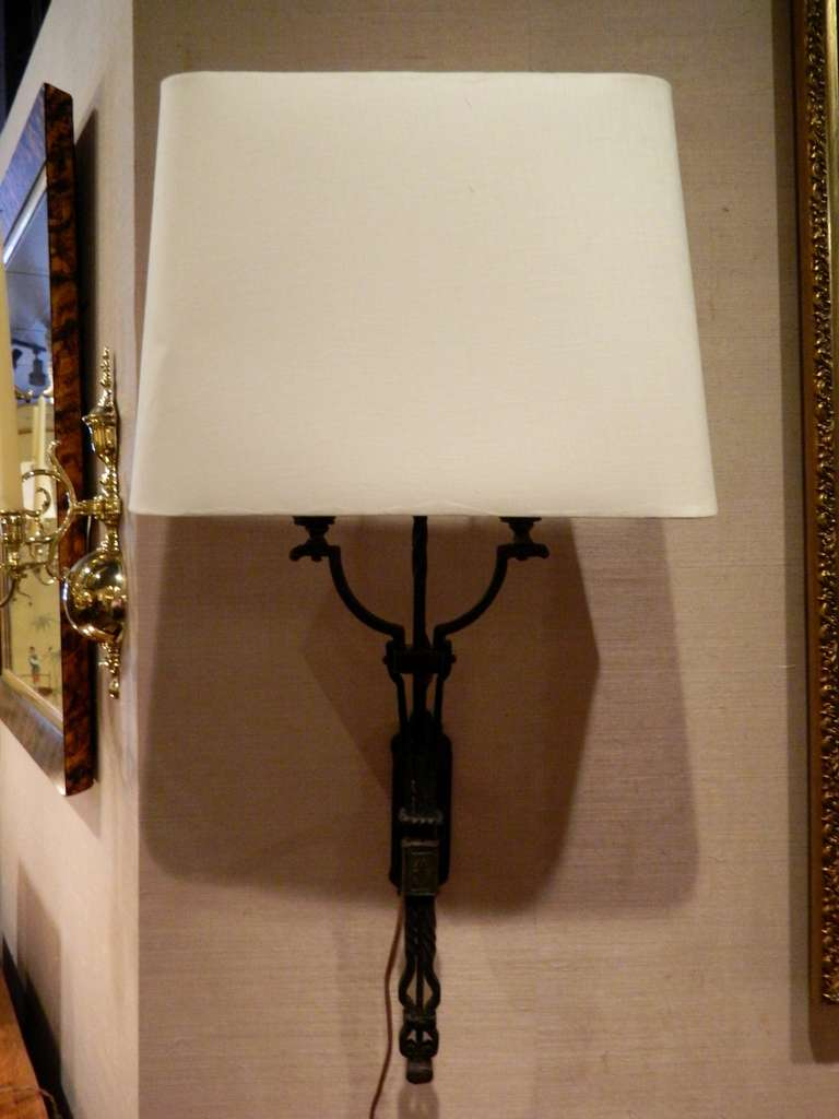 Large Iron Wall Sconces : 19th Century Large Iron Wall Sconce with Linen Shade at 1stdibs