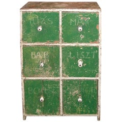 Distressed Country French Six-Drawer Painted Cabinet, 19th Century