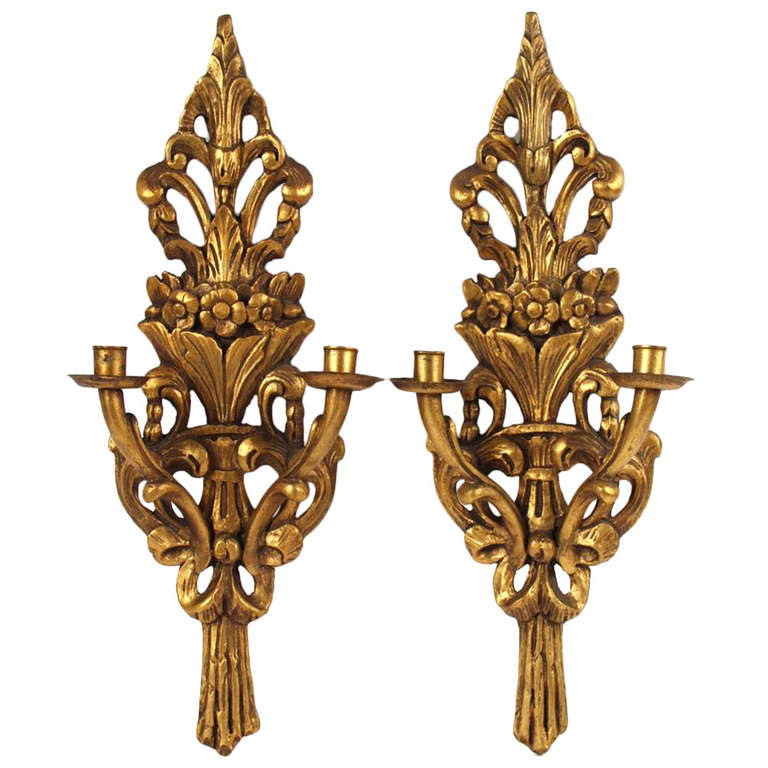 Pair of Italian Giltwood Two-Arm Wall Sconces, Early 20th Century