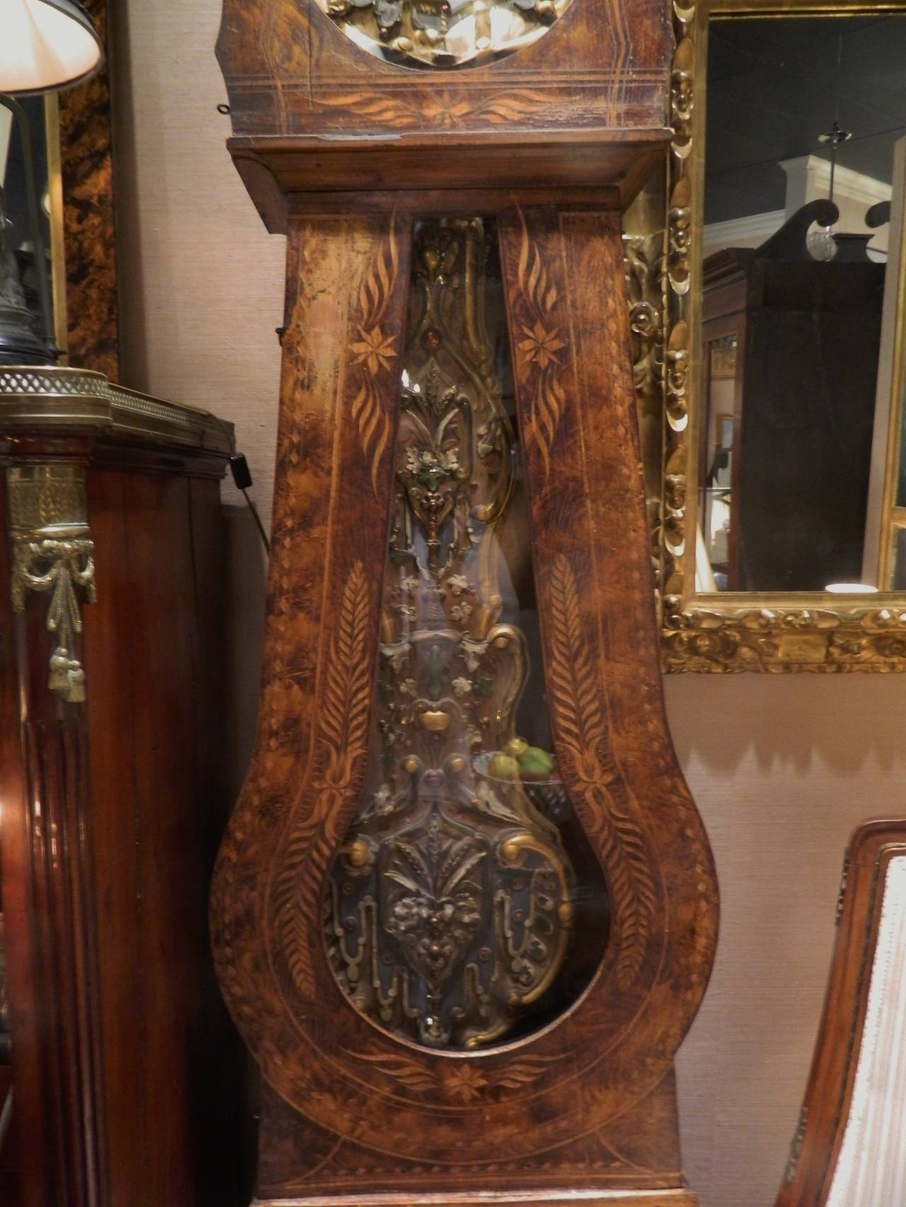 French Provincial Walnut Tall Case Clock, 19th Century For Sale 2