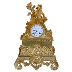 Exquisite Bronze Dore Richmond Fab Boule Montmartre Mantel Clock, 19th Century
