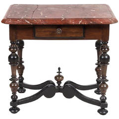Portuguese Walnut Side Table with Rectangular Marble-Top, Early 18th Century