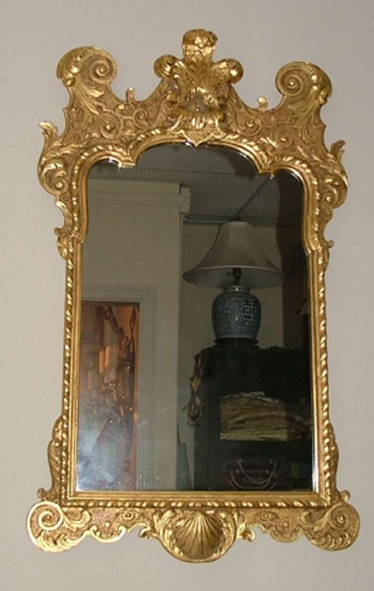 Gilt Carved Mahogany Wall Mirror With Prince Of Wales Feathers