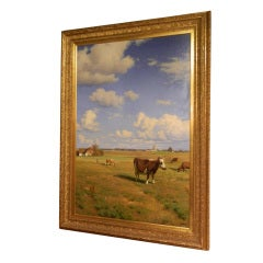 "Framed oil on canvas ""Cows in a Pasture"" by Ludvig Kabell"