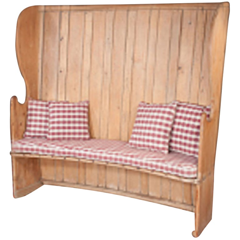 English Pine Settle or Bench with High Wing Back and Shaped Arms at ...