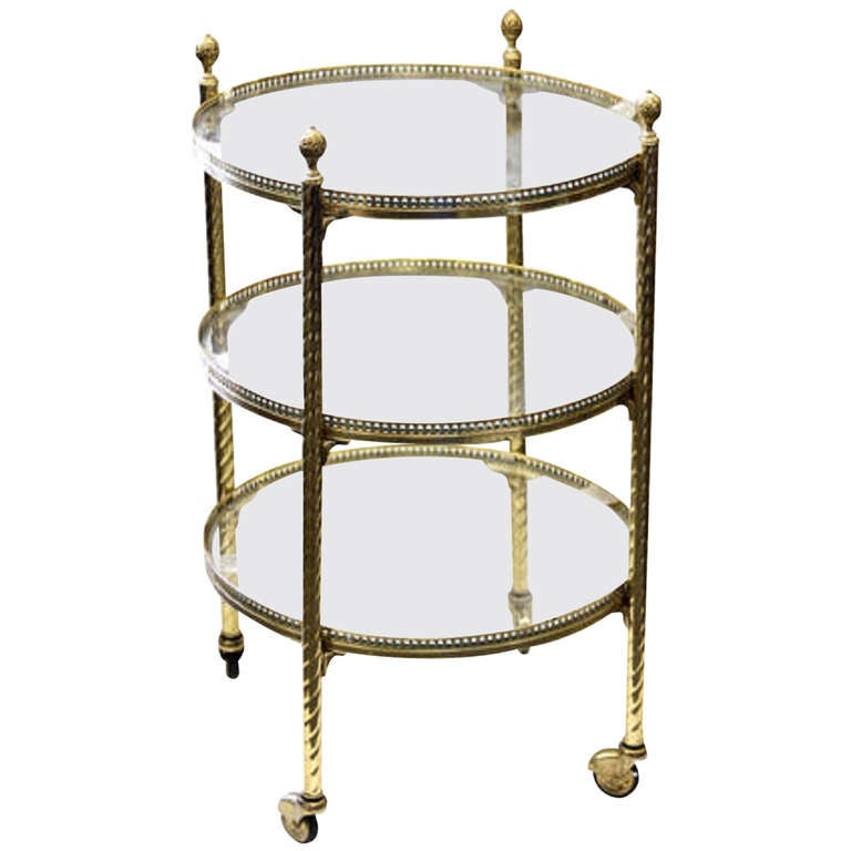 20th Century Directoire Style Brass and Glass Three Tier Serving Cart on Casters For Sale