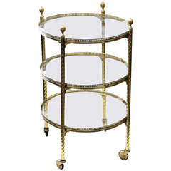 20th Century Directoire Style Brass and Glass Three Tier Serving Cart on Casters