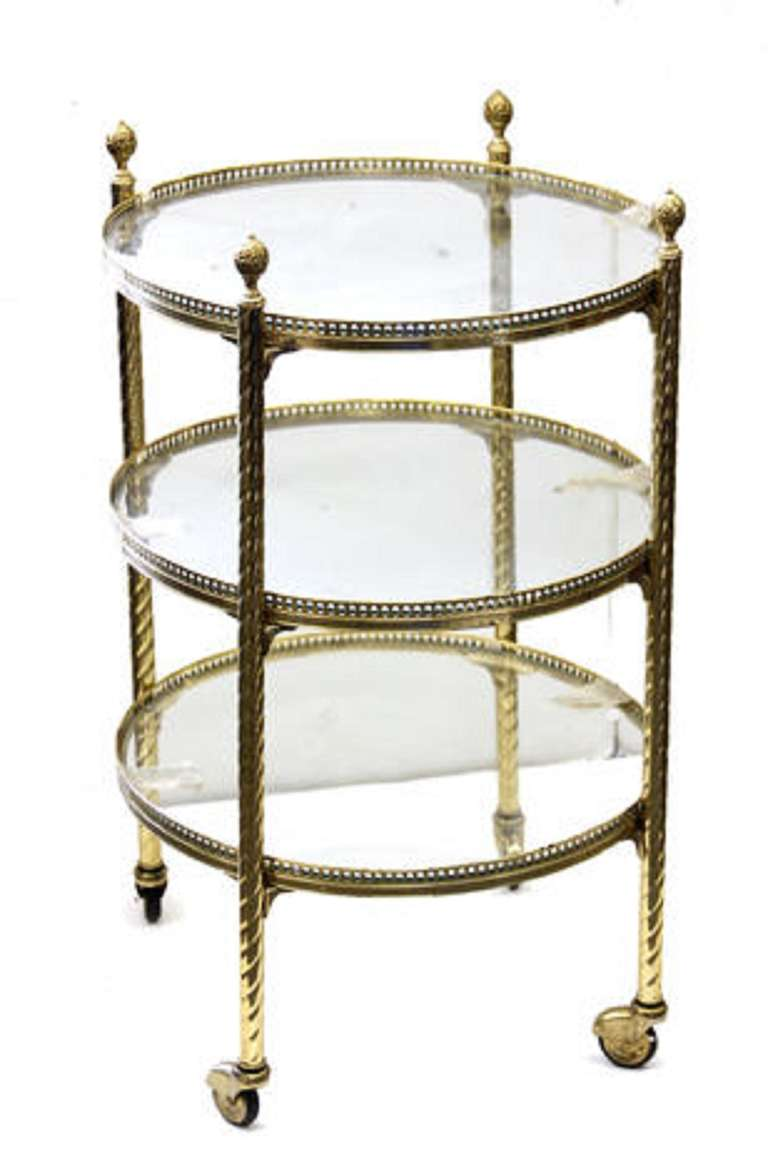 Italian 20th Century Directoire Style Brass and Glass Three Tier Serving Cart on Casters For Sale