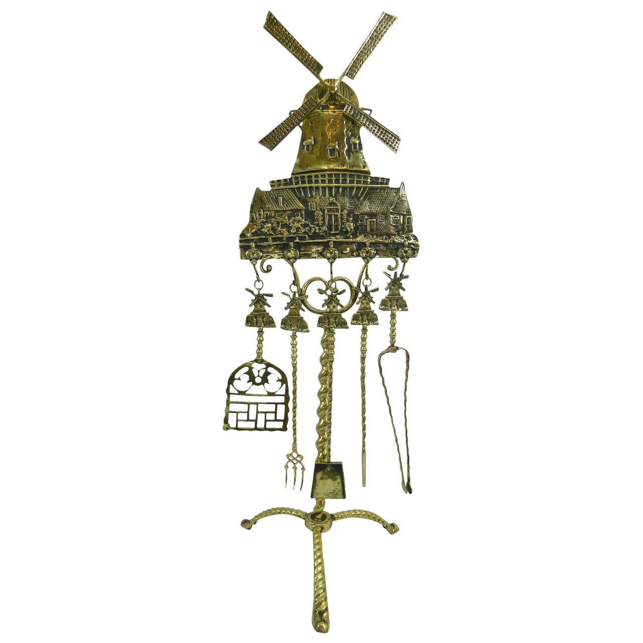 polished brass windmill design set of five fireplace tools 19th