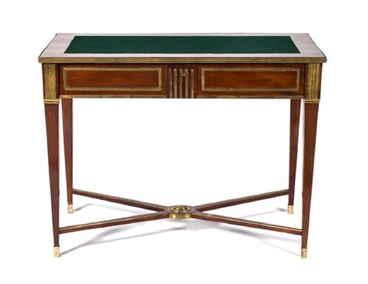 Russian Brass Mounted Mahogany Writing Table or Desk; having a rectangular felt inset top over a fall-front secretary drawer, raised on square tapering legs joined by an X-form stretcher, 19th Century