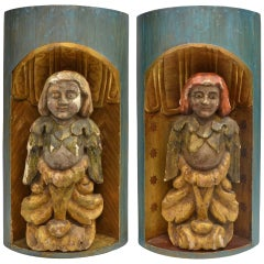 Pair of Continental Gilded and Polychromed Wood Figures in Niches, 19th Century