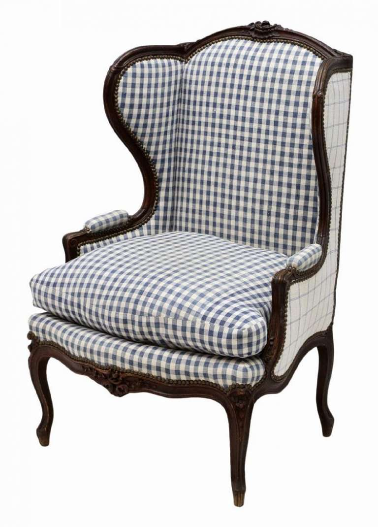 French louis xv style oak wing back arm chair on cabriole for Style chair