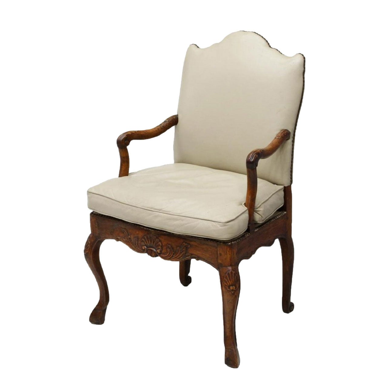 French Louis XV Style Armchair on Cabriole Legs, Late 18th Century