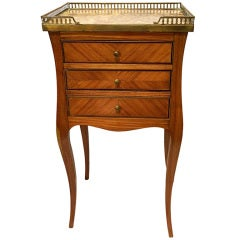 Louis XV Style Occasional Table with a Galleried Marble Inset Top, 19th Century