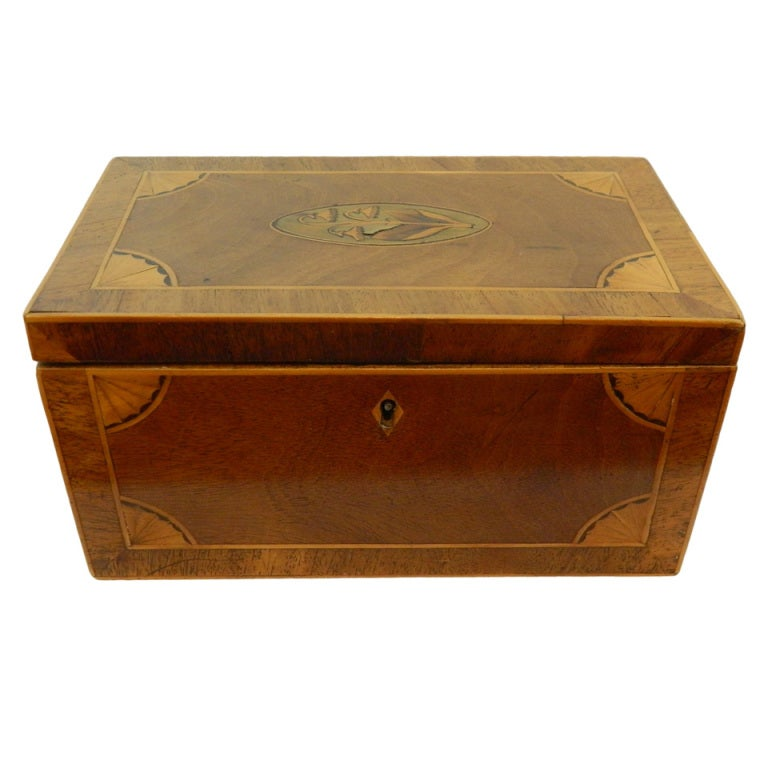 George III Marquetry Decorated Tea Caddy, 19th Century